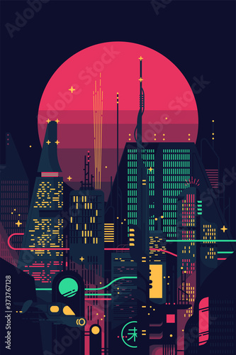 Cool retro futuristic synthwave background with night dystopian cityscape and gigantic pink planet or sun silhouette. Vector flat design on dark sci-fi megalopolis with neon lights, huge skyscrapers