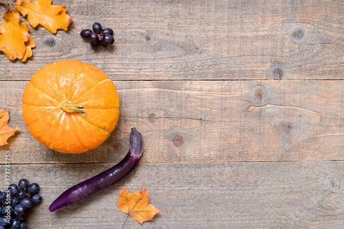Autumn background with yellow leaves and vegetables Wallpaper Mural