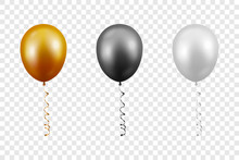 Vector 3d Realistic Metallic Golden, Black, White Balloon With Ribbon Set Closeup Isolated On Transparent Background. Design Template Of Translucent Helium Baloons, Mockup, Anniversary, Birthday Party