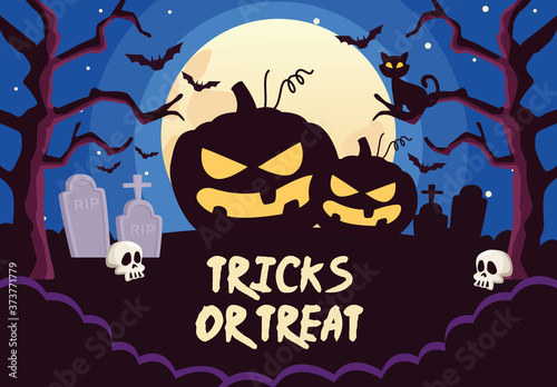 halloween tricks or treat lettering with pumpkins in cemetery night scene Fototapet