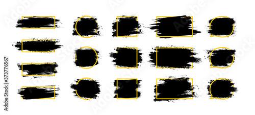 Obraz na plátně Ink brush paint frame set