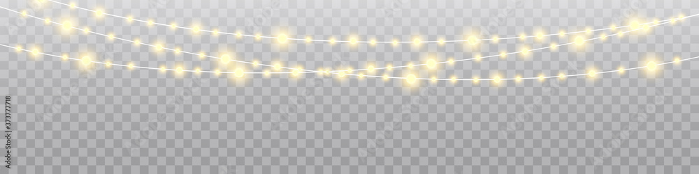 Fototapeta Christmas lights isolated realistic design elements. Glowing lights for Xmas Holiday cards, banners, posters, web design.