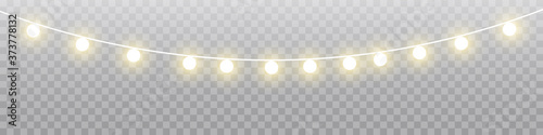 Papel de parede Christmas lights isolated realistic design elements