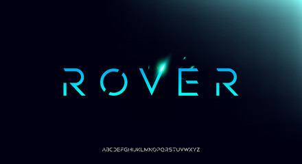 Rover, an Abstract technology futuristic alphabet font. digital space typography vector illustration design