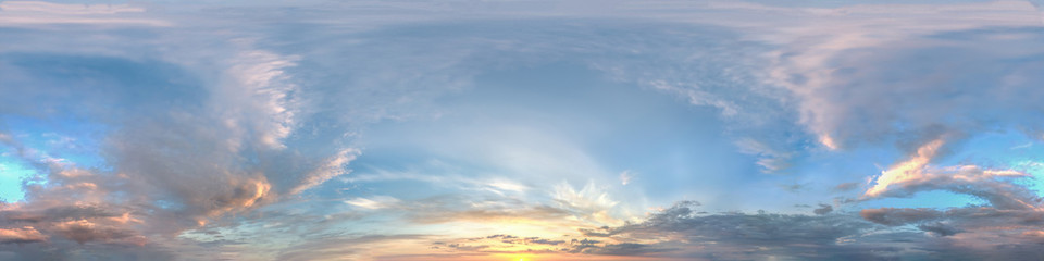 hdr panorama of sunset sky with clouds without ground, for easy use in 3D graphics and panorama for composites in aerial and ground spherical panoramas as a sky dome.