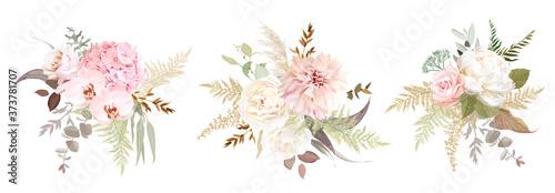 Obraz na plátně Dusty pink and ivory beige rose, pale hydrangea, peony flower, fern, dahlia
