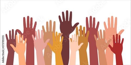 Colored volunteer crowd hands isolated on white background Tapéta, Fotótapéta