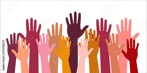 Vászonkép Colored volunteer crowd hands isolated on white background