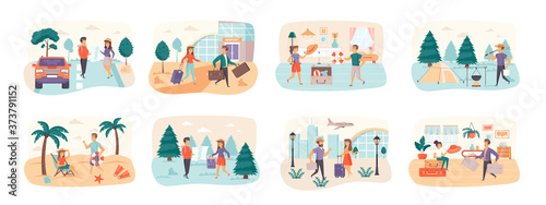 Fotografia Travel vacation bundle of scenes with people characters