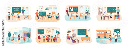 Back to school bundle of scenes with flat people characters Canvas