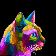 Colorful Cat Pop Art Portrait Premium Vector, Can Be Used For Posters, Decoration, Wallpaper, Banner, T Shirt Design, Digital Painting, Mural, Decorative, Frame