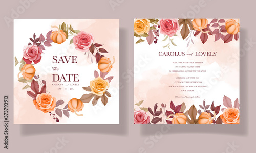 Wedding invitation beautiful hand drawing flower and leaves template set Tableau sur Toile