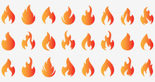 Fire Flames Icons Set. Stock V...
