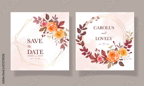 Wedding invitation beautiful hand drawing flower and leaves template set Poster Mural XXL