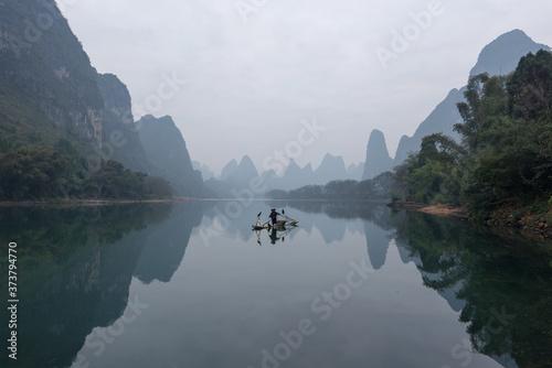 Chinese traditional fisherman with cormorants fishing, Li River Canvas Print