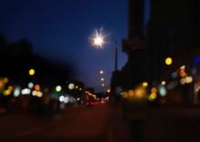 Night Street Lamp On Road City Light Blurred  ,cars Traffic ,dark Houses