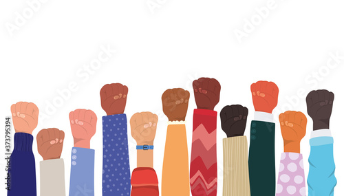 fist sign with hands of different types of skins design, diversity people multie Canvas