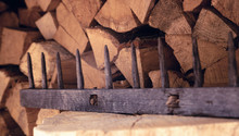 Old Wooden Rake On A Backgroun...
