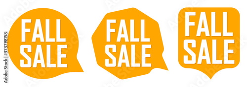 Set Fall Sale speech bubble banners, discount tags design template, vector illus Fototapete