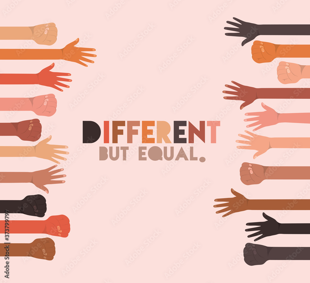 Fototapeta different but equal and diversity skins hands up design, people multiethnic race and community theme Vector illustration