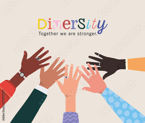 Fotografiet diversity together we are stronger and hands touching each other design, people