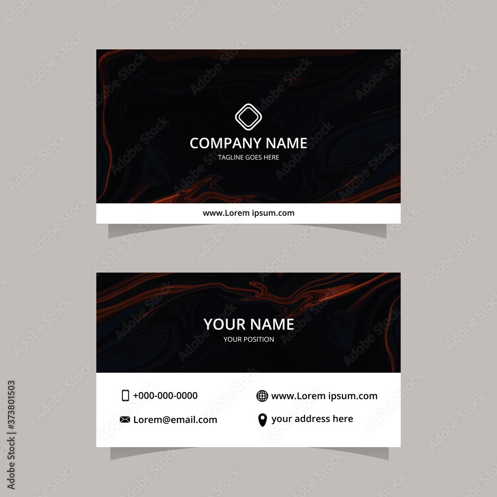 Fototapeta Elegant Vector graphic of business card design template with liquid marble texture background. modern black color.