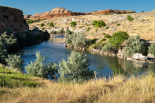 The Bighorn River Going Through Hot Springs State Park In Thermopolis, Wyoming