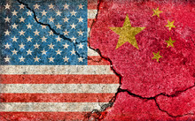 Grunge Country Flag Illustration (cracked Concrete Background) / China Vs USA (Political Or Economic Conflict)