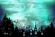 ハロウィン 城 風景...