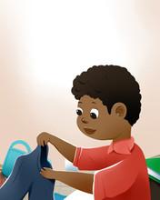 Illustration Of Black Boy Checking Jeans. Children's Books