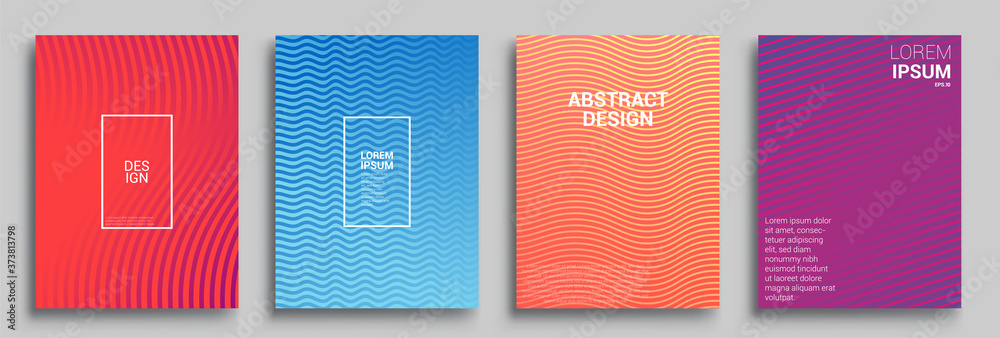 Fototapeta Modern abstract covers set, Modern colorful wave liquid flow poster. Cool gradient shapes composition, vector covers design.