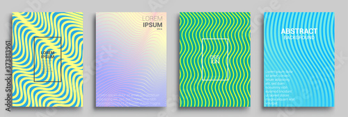Cuadros en Lienzo Modern abstract covers set, Modern colorful wave liquid flow poster