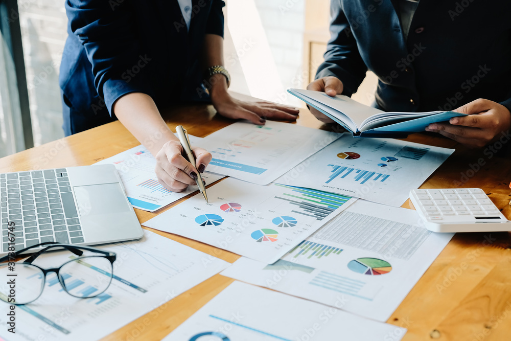 Fototapeta financial advisory services. Group of business advisor showing plan of investment to clients in the consultancy office