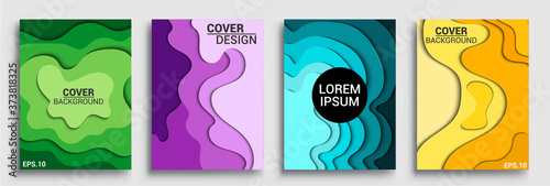 Vertical banners templates with 3D abstract sets, Modern abstract background and cover with paper cut style Tableau sur Toile