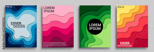 Foto Vertical banners templates with 3D abstract sets, Modern abstract background and cover with paper cut style