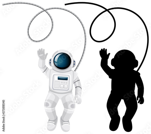 Set of astronaut characters and its silhouette on white background Canvas Print