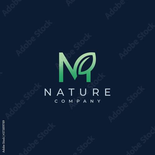 M Letter Leaf Logo Icon Design Vector