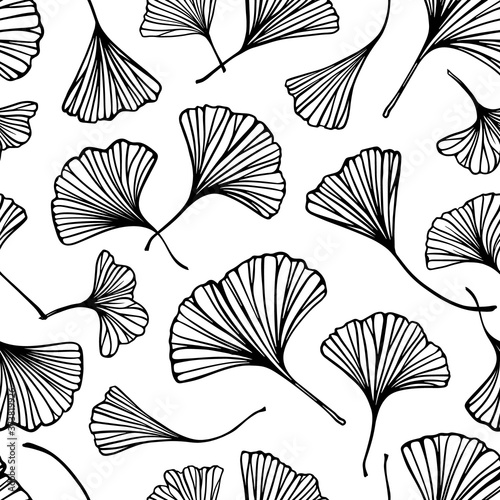 Tapeta czarno biała  black-and-white-ginkgo-leaves-seamless-pattern