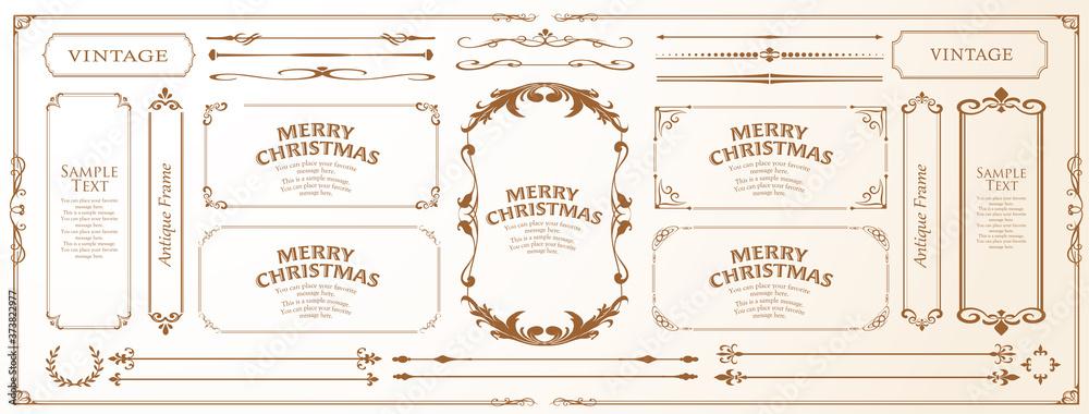 Fototapeta クリスマスのフレームセット、リースのデザイン、オーナメントや装飾デザイン