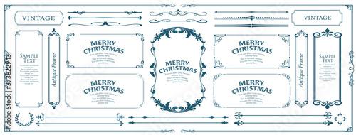 クリスマスのフレームセット、リースのデザイン、オーナメントや装飾デザイン Fototapet
