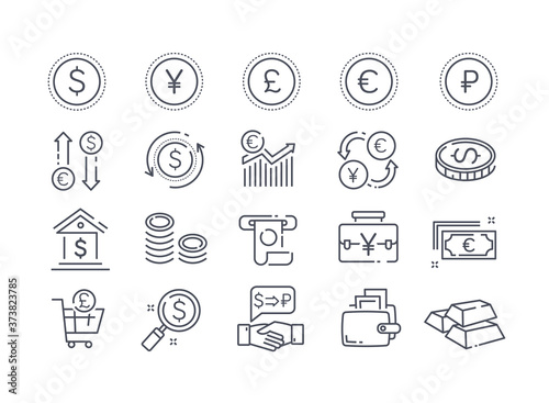 Obraz Large collection of 20 different money, banking, financial and transaction icons with assorted currencies, black and white vector illustration - fototapety do salonu