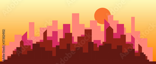 Obraz Abstract futuristic city sky sunset with modern buildings vector wallpaper background. Vector illustration EPS 10. - fototapety do salonu