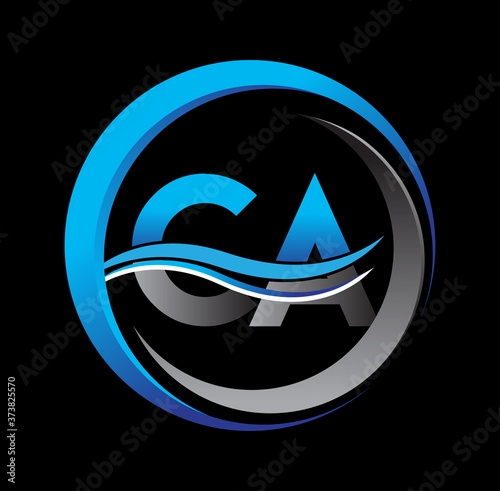 Photo initial letter logo CA company name blue and grey color on circle and swoosh design