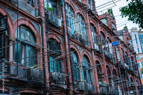 Fototapety, obrazy: Close shot of the facade of a historic building in Shanghai, China