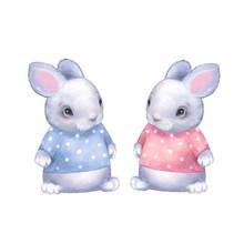 Cute Bunnies. Digital Painting...