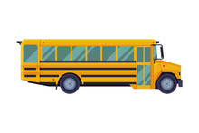 Yellow School Bus, Back To School Concept, Students Transportation Vehicle Flat Style Vector Illustration On White Background