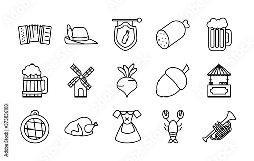 icon set of oktoberfest and trumpet, line style Fototapete