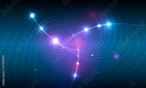 Obraz Modern abstract web banner with colorful abstract bright rounded lines on blue background for concept design. Color gradient pattern background and geometric shape texture - fototapety do salonu