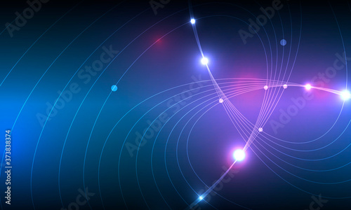 Modern abstract web banner with colorful abstract bright rounded lines on blue background for concept design. Color gradient pattern background and geometric shape texture