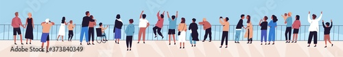 Photo Crowd of relaxed people contemplating sea or ocean from waterfront vector flat illustration